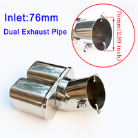 76mm 3 Inch Dual Exhaust Car Tailpipe Rear Muffler Tip Cover Stainless Fit for Diameter Between 46mm 71mm Accessories