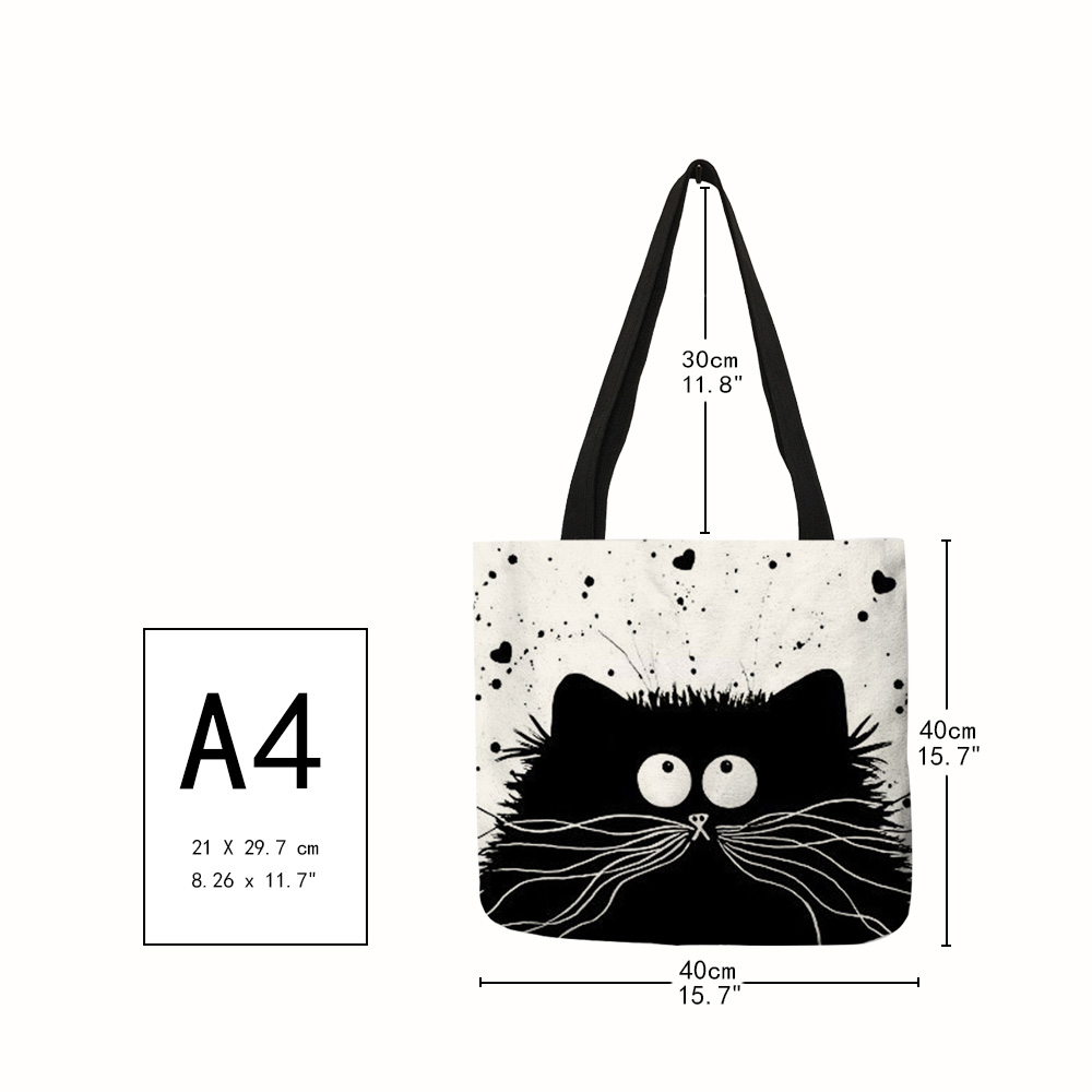 Customized Cute Cat Printing Women Handbag Linen Tote Bags with Print Logo Casual Traveling Beach Bags 1