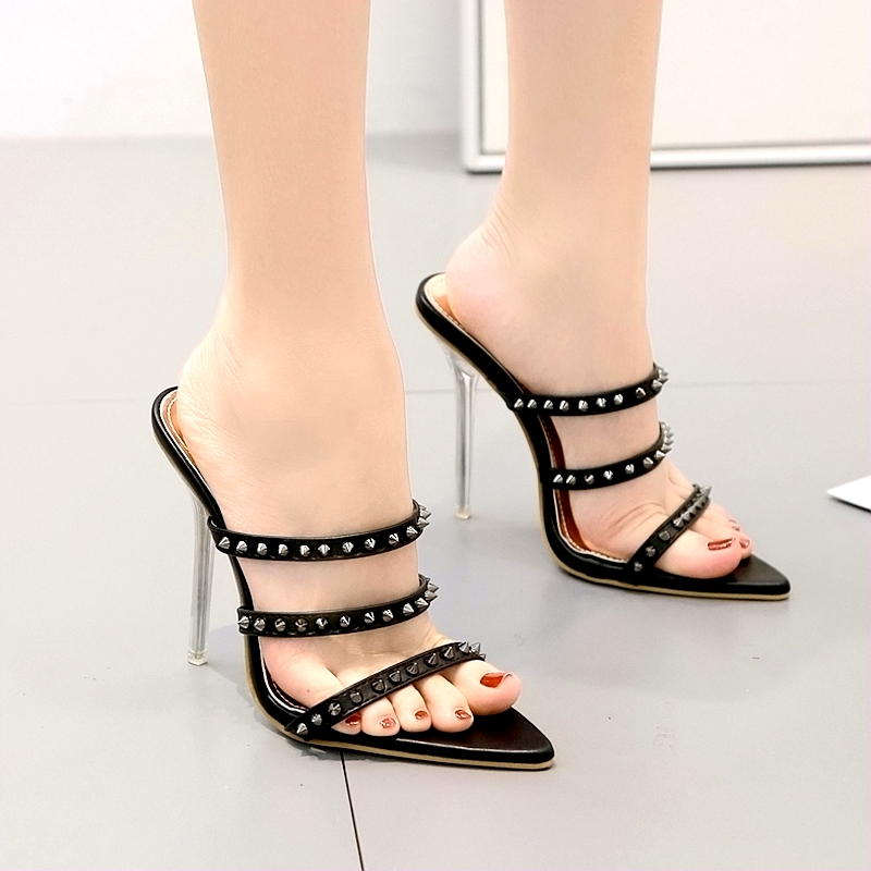 shoes woman sandals chaussures femme sandales femme 2019 New style Pointed rivet High heel fine Rome shoes Cusp sandalen sum in High Heels from Shoes