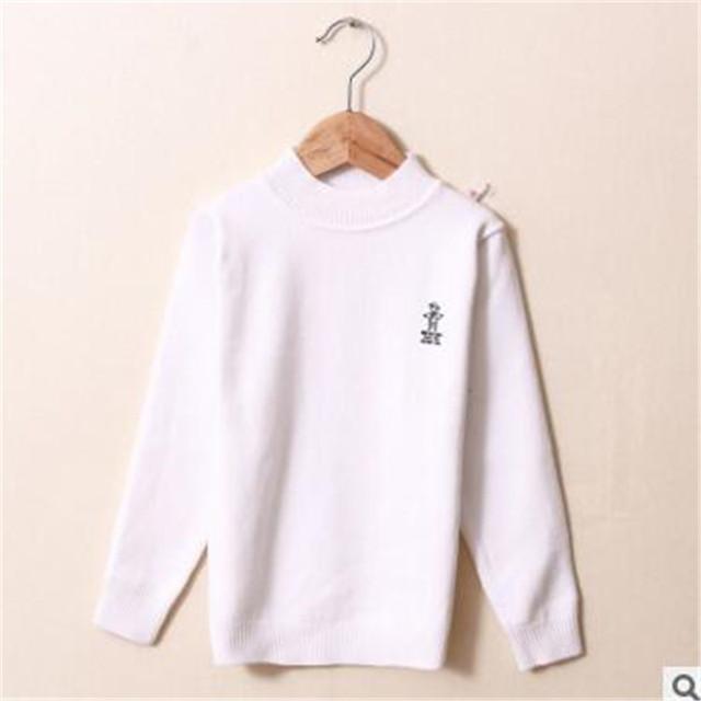 New Outono Inverno Camisola de Algodão O-pescoço de Lã De Comprimento Total Inferior Camisas Do Bebê Das Meninas Dos Meninos Camisola Moda Casual Roupa Dos Miúdos hx009