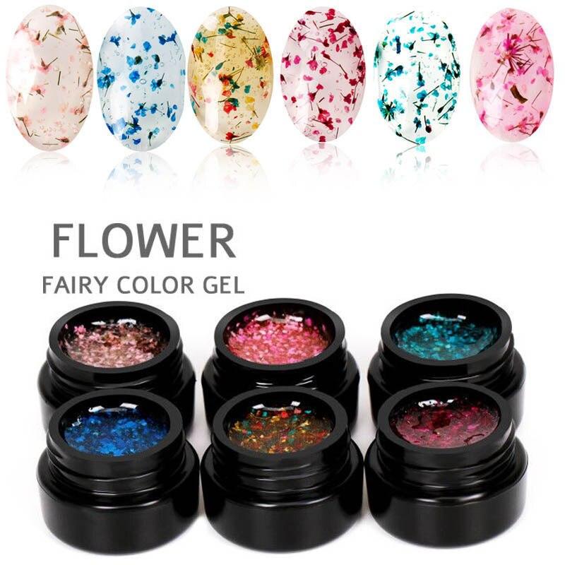 1 Pcs Dry Flower Gel Nail Polish UV LED Transparent Varnish for Art JIU55