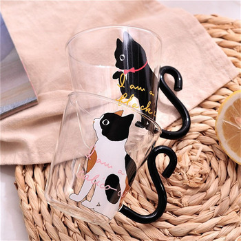 Justdolife 250ml Cute Creative Cat Milk Coffee Mug Water Glass Mug Cup Tea Cup Cartoon Kitty Home Office Cup For Fruit Juice creative milk glass cup breakfast coffee mug office juice tea cup home kitchen transparent cup heat resistant ins gift cup