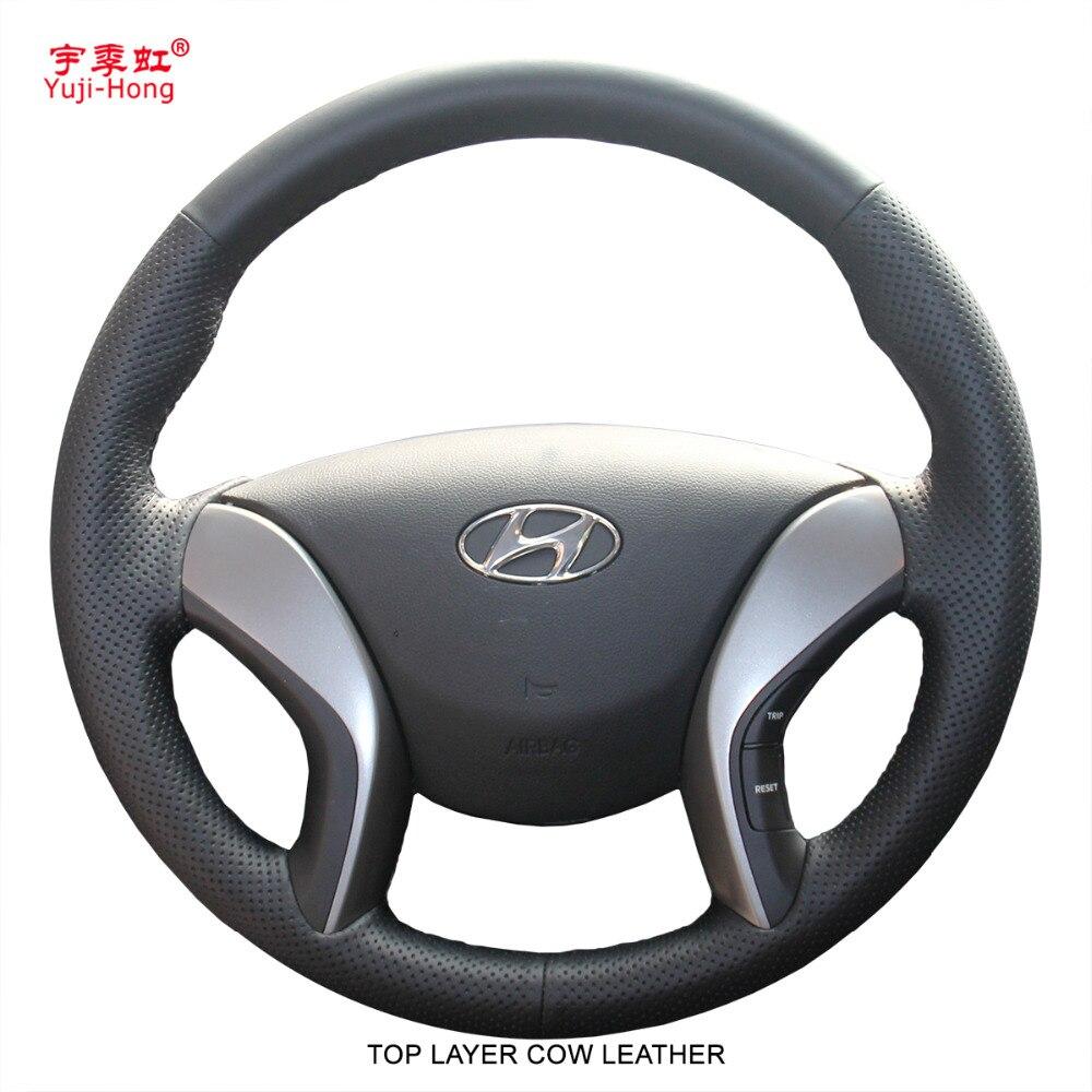 Yuji-Hong Top Camada de Couro de Vaca Genuína 5 Volante Do Carro Covers Caso para HYUNDAI Elantra Avante i30 2013 -2015 Capa Preta
