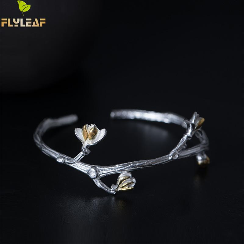все цены на Flyleaf 100% 925 Sterling Silver Vine Magnolia Open Cuff Bracelets & Bangles For Women Chinese Vintage Style Jewelry
