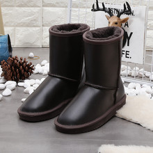 Non-slip Women Snow Boots 100% Genuine Cowhide Leather Waterproof Mid Calf Boots Warm Winter Boots Woman Shoes