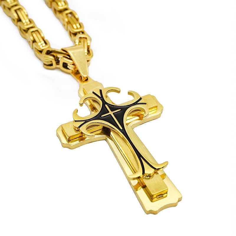 Nowa stal nierdzewna vintage krzyż naszyjniki wisiorek bizantyjski dla mężczyzn łańcuch złoty kolor srebrny Hip Hop naszyjnik biżuteria męska prezent