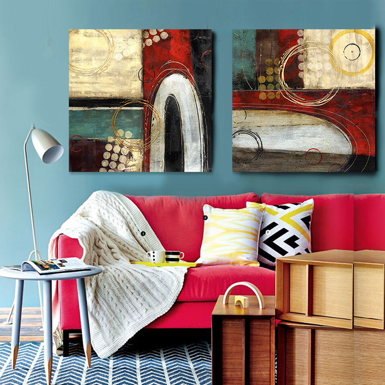 2 Panel Hand-painted oil painting abstract modern digital printing canvas art Red Blue <font><b>Home</b></font> <font><b>Decoration</b></font> <font><b>asian</b></font> modern art