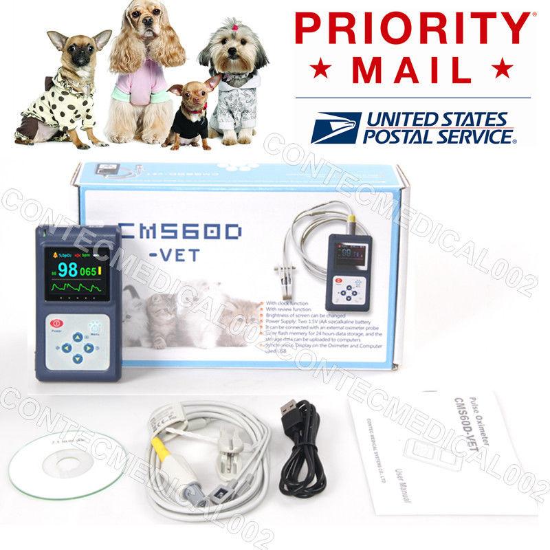 CONTEC CMS60D-VET Vet Tongue/Ear Clip Probe, OLED, USB PC Software Veterinary Animal Use Pulse Oximeter