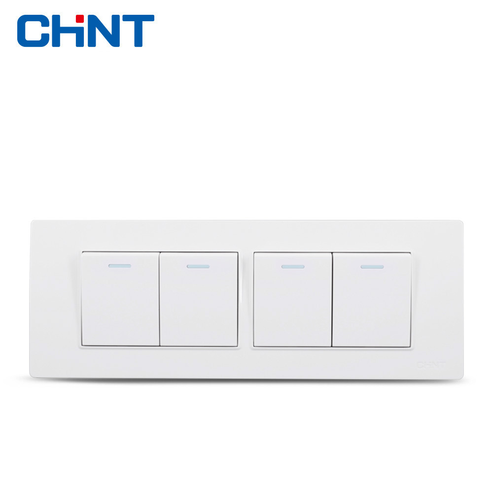 Interruptor CHINT 118 Tipo de Estrutura de Aço NEW5D Quatro Posição Hyun Branco Quatro Gang Dois Sentidos Interruptor Do Painel