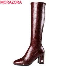 MORAZORA 2020 şarap kırmızı yeni diz yüksek çizmeler kadın kare ayak patent deri çizmeler fermuar moda streç yüksek topuklu ayakkabılar