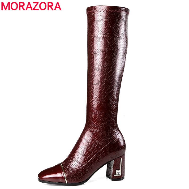 MORAZORA 2020 wine red newest knee high boots women square toe patent leather boots zipper fashion Stretch high heels shoes-in Knee-High Boots from Shoes    1
