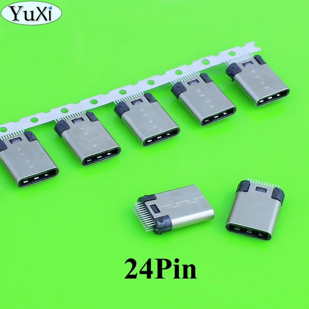 YuXi 2-5pcs/lot DIY 24pin USB 3.1 Type C USB-C Male / Female Welding Soldering Plug Connector Jack SMT Type