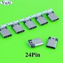 цена на YuXi 2-5pcs/lot DIY 24pin USB 3.1 Type C USB-C Male / Female welding soldering Plug Connector jack SMT type