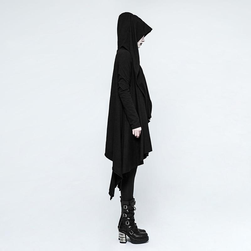 751 Sweat Capuche Black Manteau Chaîne Tricoté Femmes Patte Noir Partie Y Asymétrique Punk Oeillet Gothique Trou Rave Tirage Manches Veste À Harajuku Fp0qnX1H