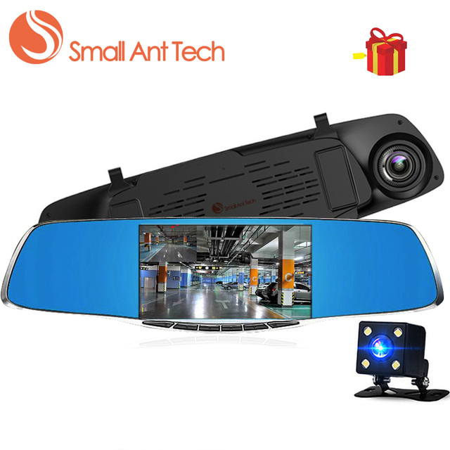 SmallAntTech Car Dvr Dash Camera Rearview Mirror Full HD 1080P 5 Inch Digital Video Recorder Dual Lens Registrar dash cam
