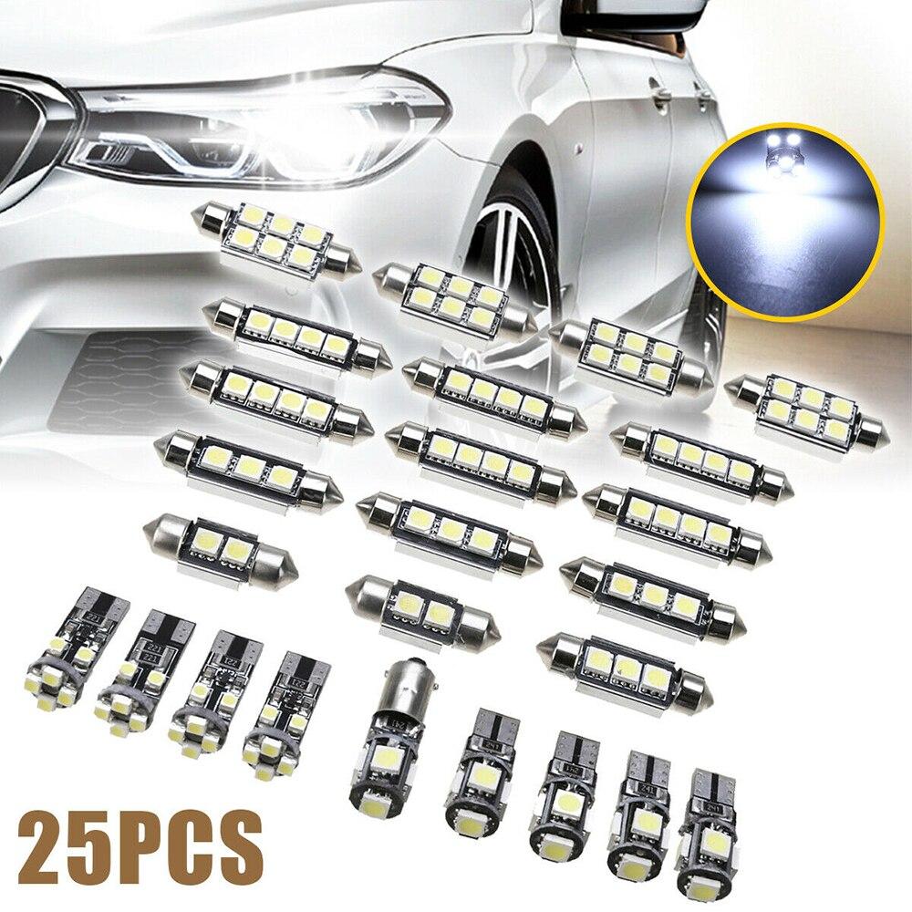 25pcs DC 12V Car Interior LED Light Set Super Bright Car Interior White LED Lights Bulbs Kit For BMW X5 E70 M 2007-2013 2019 New
