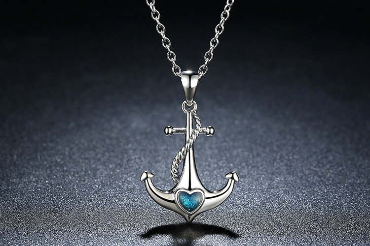 Classic 925 Sterling Silver Blue Heart Crystal Anchor Pendant Necklace