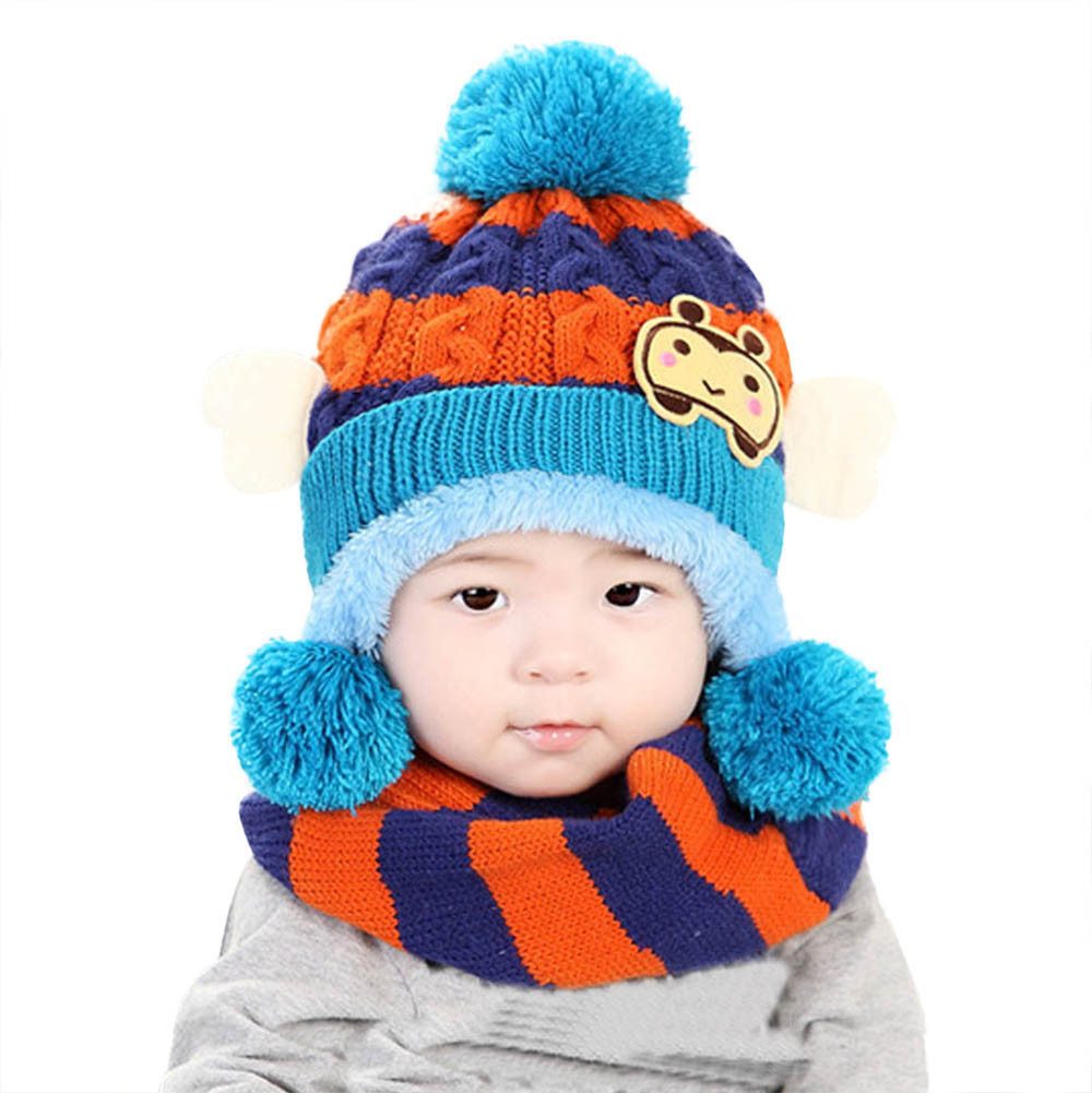 2PC Set Baby Girls Boys Winter Hat Scarf Woolen Hood Scarves Knitted Baby Hats Beanies For 0 to 36 Months newborn JD Loviny