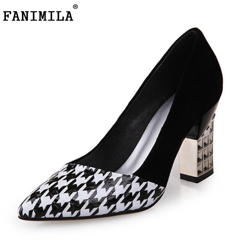 FANIMILA Women High Heel Pumps Pointed Toe Square Heels Party Office Ladies High Electroplate  Heels Shoes Women Size 32-43 comfy women pointed toe square high heels office shoes woman flock ladies pumps plus size 34 40 black grey high quality