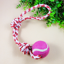 New hot sale pet cotton rope toys Double knot plus ball cats and dogs toy Scaler scaling knot Free shipping dog toy tennis