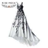 Gothic White and Black Lace Trumpet Wedding Dress Bateau Neck Illusion Back Bridal Gown Vestidos de Noiva Real Photos