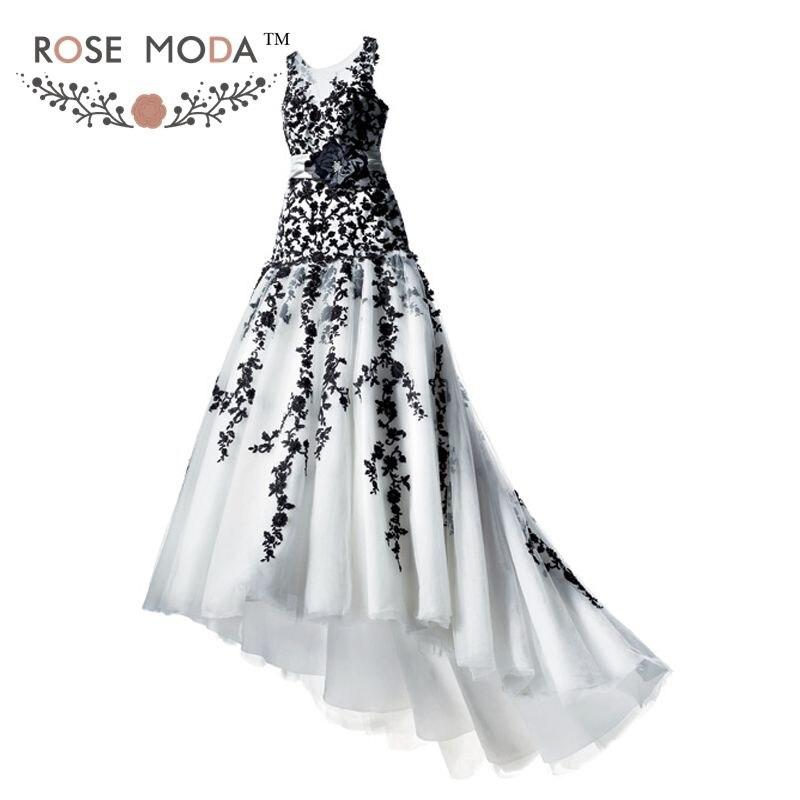 Gótico blanco y negro encaje vestido de boda trompeta Bateau cuello Illusion volver vestido de novia