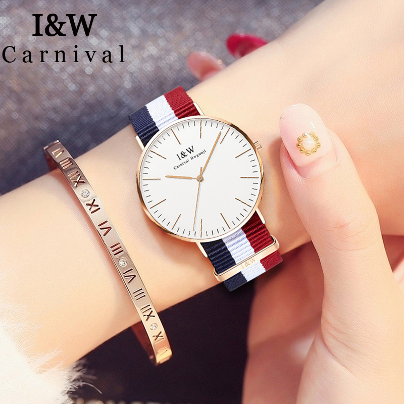 I&W Fashion Nyloy Strap Quartz Watch Women Carnival Ladies Ultra Thin Simple Wrist Watch Sapphire Crystal Clock bayan kol saati carnival iw authentic ladies watch quartz watch steel mesh with noble women s watch waterproof ultra thin simple women s watch