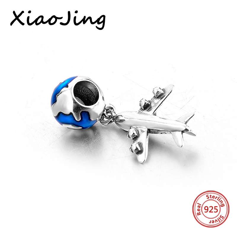 High quality Plane and earth Pendant charm Bead Fit pandora charms silver 925 original beads jewelry making for women gift in Beads from Jewelry Accessories