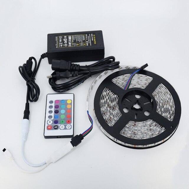 5m 300 LED IP65 RGB LED Strip Light 5050 SMD Fita De Led Tiras String +24Keys Remote Controller+ EU US AU Plug 12V Power Adapter