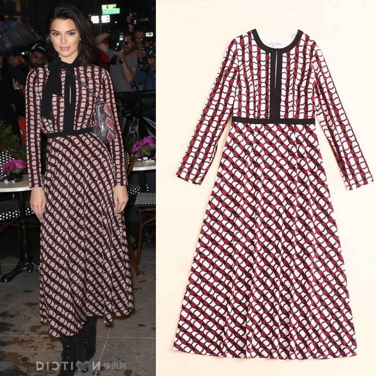 2019 Early Autumn Foreign Trade New Women's Collar Long Sleeve Circle Printing Waist Length Temperament Dress Women
