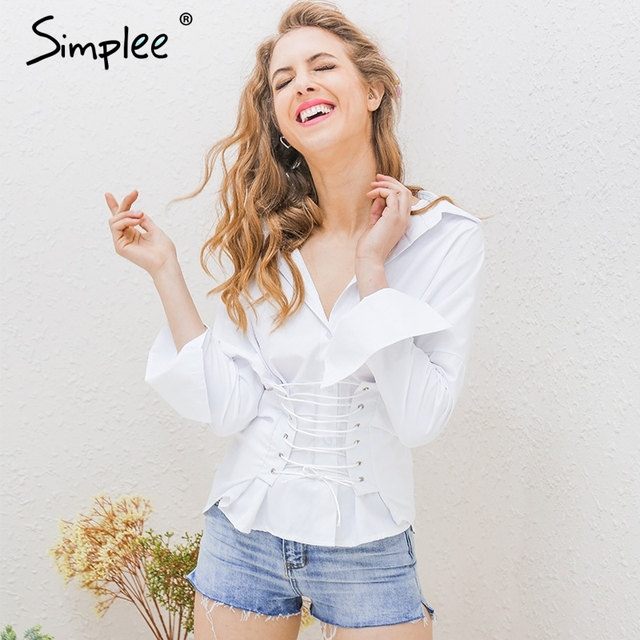 Simplee Elegant lace up white blouse shirt Long sleeve cotton high-low blouse women tops Summer 2017 casual blouse blusas