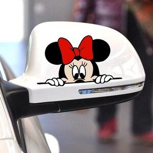 Image 3 - Bonita y divertida caricatura de Mickey y Minnie, calcomanías adhesivas para coche, espejo retrovisor del coche, parachoques, cuerpo, cabeza, estilo creativo, patrón de vinilo
