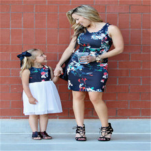 New Hot Family Matching Outfits Mother Daughter Clothes Dress Baby Girl Floral Skirt Mother Daughter Matching Clothes O-neck keelorn girl dress 2018 new style family matching outfits mother and daughter fall full black striped dress free shipping