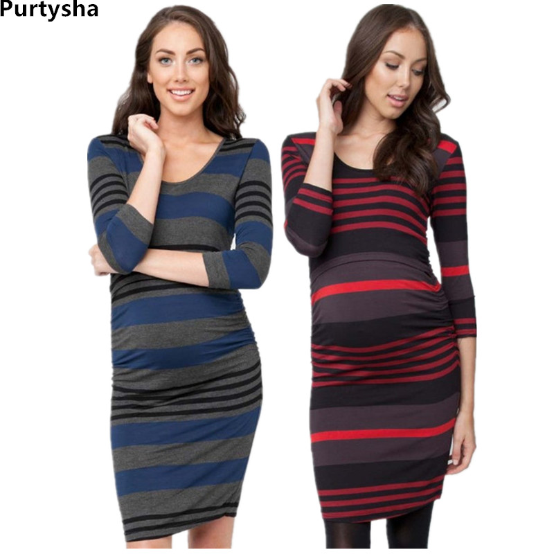 Maternity Clothes Stripe T-shirt Sexy Slim Sheath Dress With Long Sleeve Breastfeeding Tops Elasticity Summer Pregnancy Dresses