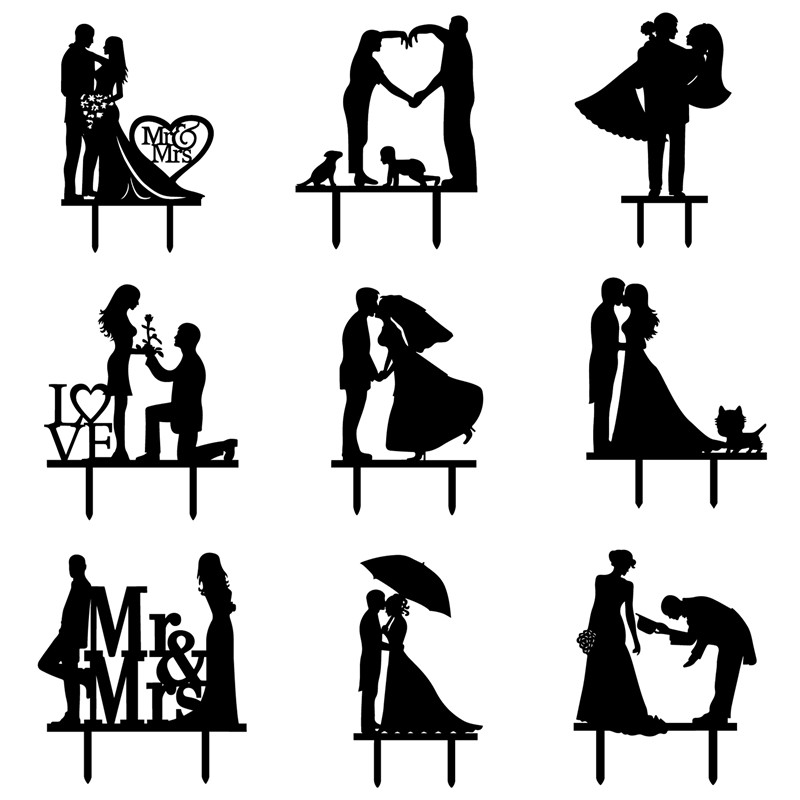 Marry Me Love Heart Rose Mr & Mrs Cake Flag Bride Groom With Cat Cake Toppers For Wedding Anniversary Party Cake Baking Decor