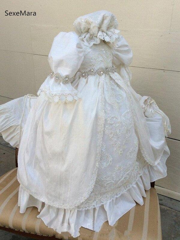 Bonnet 6M 12M 18M 24M White Infant Baby Girl Baptism Christening Gown Dress