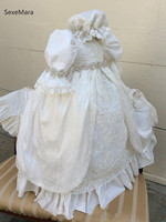 Heirloom Luxury Baby Dress Lace Beading Infant Christening Gown Baby Girls Baptism Dress with Bonnet Newborn 3M 6M 12M 18M 24M