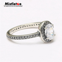 Genuine 925 Sterling Silver Vintage Elegance Clear CZ Ring Compatible With Pandora Ring Jewelry