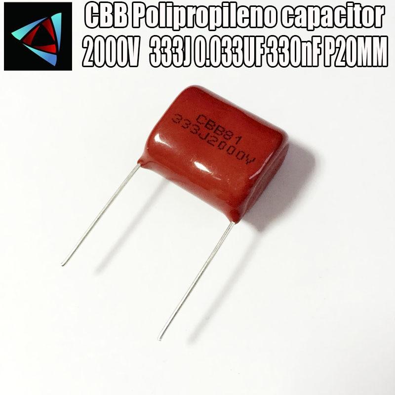 2PCS 2000V 2KV 333J 0.033UF 330nF P20 Polypropylene Film Capacitor Pitch 20mm