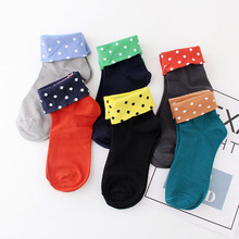 Socks women cotton happy funny Jacquard polka dot casual sock collar Comfortable soft red black other colors Female socks