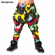 Heroprose 2018 Нова особистість Барвистий Камо великі промежини брюки сценічні костюми гарем хіп-хоп худих штанів для дітей