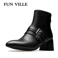 FUN VILLE 2017 New Fashion Winter Women Ankle Boots Genuine Leather High Heel Pointed Toe Zipper