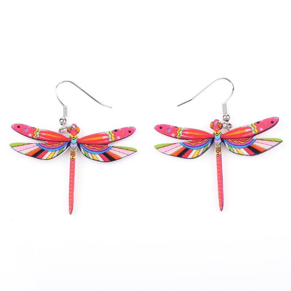 Muoti sormukset sudenkorento korvakorut akryyli pitkä pudota - Muotikorut - Valokuva 4