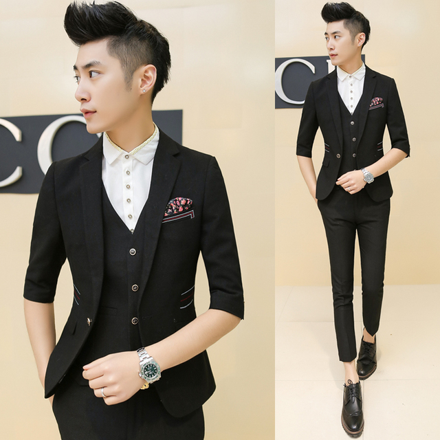 Homens Ternos Slim Vestido de Negócios da Custom Fit Tuxedo Marca Moda Ternos de Casamento mangas meia casuais blazer (Casacos + Calças + colete)