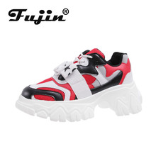Fujin Sneakers Women Spring Thick Bottom Fashion Breathable Muffin Mixed Colors Shoes Dropshipping Lace Sewing Shoe
