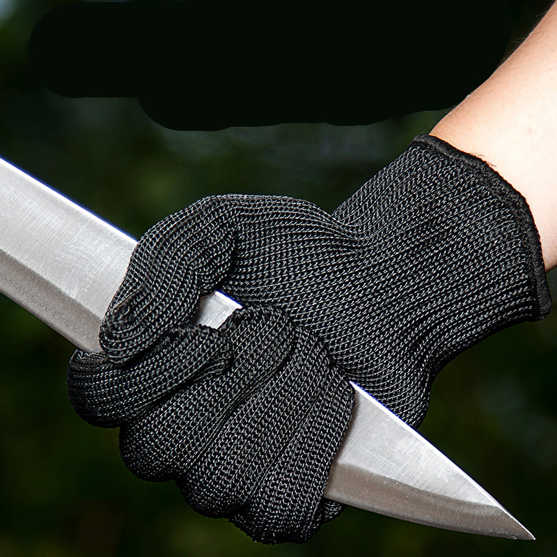 1 Pair Garden Black Steel Wire Metal Mesh Gloves Safety Anti-cutting Wear-resistant Butcher Gloves Seguridad Self Defense