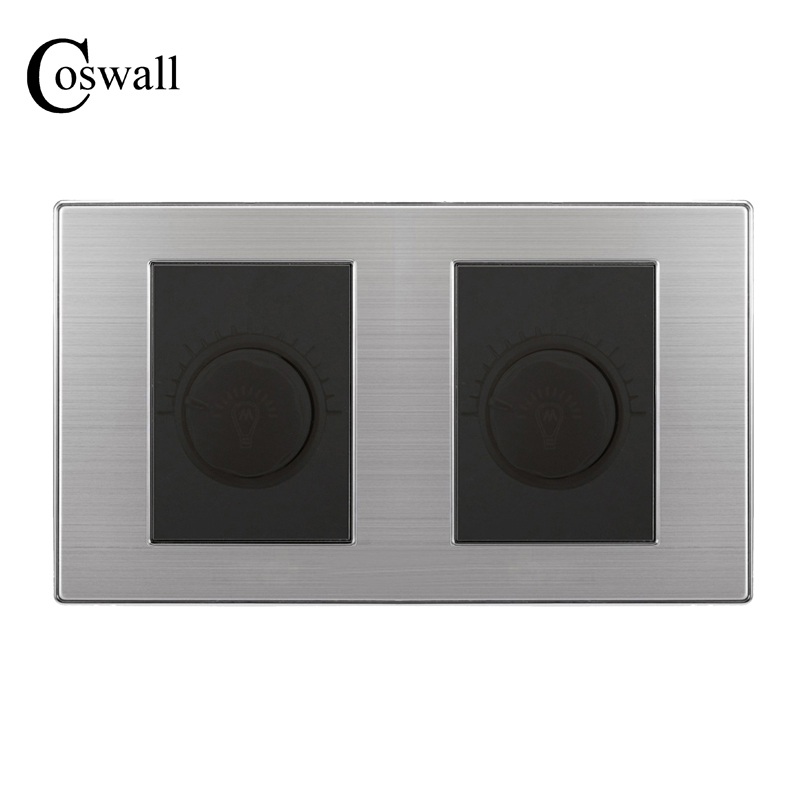 Luxury Light Dimmer Switch Double Panel Wall Interruptor Brushed Silver Stainless Steel Frame Power Conmutador 10A AC 110~250V  alarm button fire emergency call luxury switch panel alarm with key brushed silver stainless steel sos panel