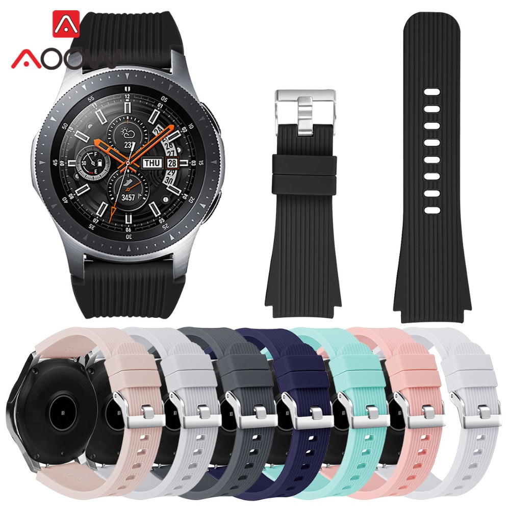 22mm Silicone Watchband For Samsung Galaxy Watch 46mm Version SM-R800 Striped Rubber Replacement Bracelet Band Strap Silver