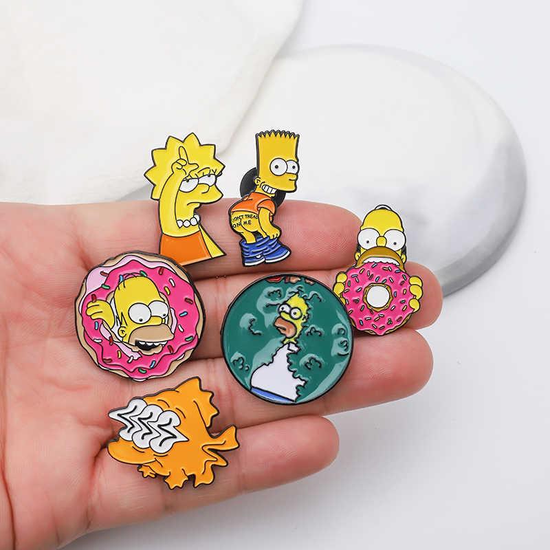 Simpson Pin Lucu Keluarga Bart Simpson Marge Simpson Sunfish Kerah Pin Lencana TV Kartun Enamel Bros Perhiasan Masa Kecil memori