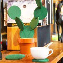 Novelty 6-Piece-Coaster-Flower-Cactus-Shaped Drinks Coasters Cup Holder Mats 2019 New